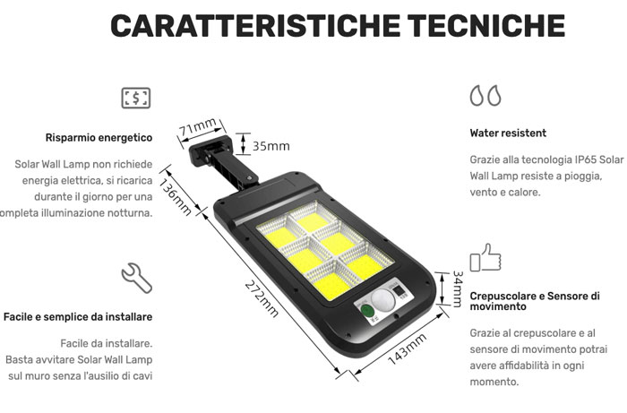 Caratteristiche del faretto Solar Wall Lamp